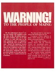 Warning! To the People of Maine by Citizens Against a Power Authority of Maine