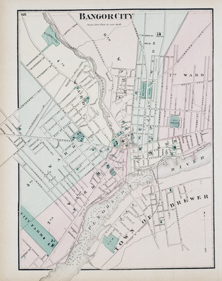City of Bangor Map, 1875