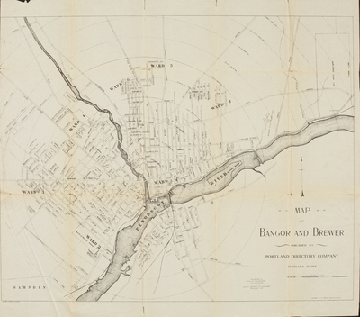 Map of Bangor and Brewer, 1892