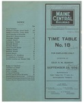 Maine Central Railroad Time Table No.18, September 1939