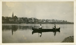 Two Men in woodstrip Canoe Georgia by unknown