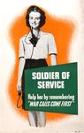 Soldier of Service, Help Her by Remembering War Calls Come First